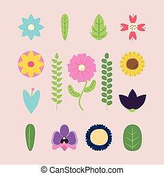 vellen, seizoen, lentebloemen, iconen, bundel