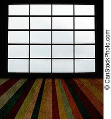 vensters, groot, grunge, grondslag vloer