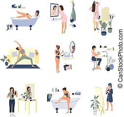 verblijf, routine, beauty, thuis, plat