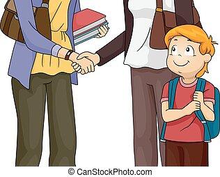 vergadering, leraar, ouder