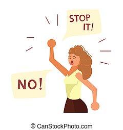 verheven, vrouw, nee, jonge, lucht, zeggen, fist