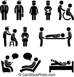 verpleeg patiënt, ziekenhuis, ziek, arts