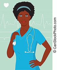 verpleegkundige, black , of, vrouwtje arts