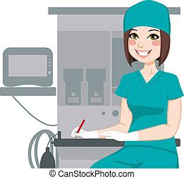 verpleegkundige, documenten, vrouwlijk, schrijvende