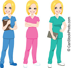 verpleegkundige, het poseren, vrolijke
