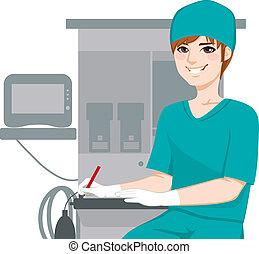 verpleegkundige, mannelijke , documenten, schrijvende