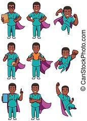 verpleegkundige, mannelijke , fantastisch, set, afrikaan
