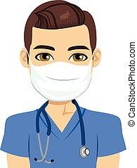 verpleegkundige, mannelijke , masker