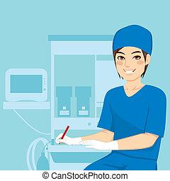 verpleegkundige, mannelijke , werkende
