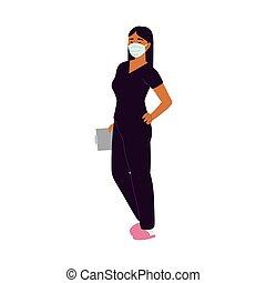 verpleegkundige, masker, medisch