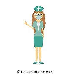 verpleegkundige, masker, medisch, vrouwlijk, bril