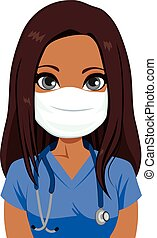 verpleegkundige, masker, vrouwlijk