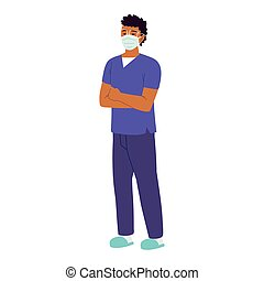 verpleegkundige, staand, mannelijke