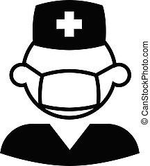 verpleegkundige, vector, mannelijke , pictogram