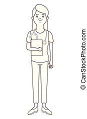 verpleegkundige, vrijstaand, avatar