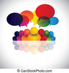 verplichting, werkkring mensen, communicatie, besprekingen, kinderen, personeel, &, media, ook, werknemer, vergadering, geitjes, wisselwerking, conferentie, vertegenwoordigt, grafisch, het spreken., klesten, vector, sociaal, of