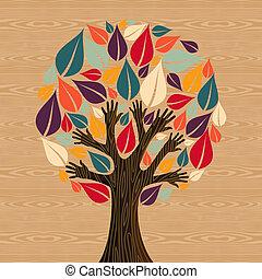 verscheidenheid, abstract, boompje, handen