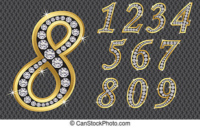 verstand, 1, set, getal, gouden, negen