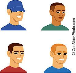 verticaal, mannen, avatar, spotprent