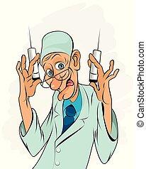 verticaal, medic, spuiten