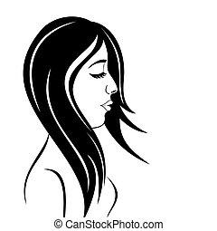 verticaal, meisje, beauty, gezicht