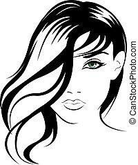 verticaal, meisje, vector, beauty, gezicht