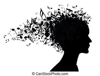 verticaal, vrouw, silhouette, muziek