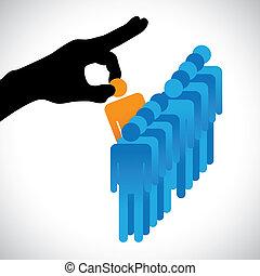 vervaardiging, persoon, anderen, grafisch, kandidaten, bedrijf, hr, kies, best, optredens, juiste hand, silhouette, keuze, werk, vaardigheden, velen, employee., illustratie, voorgestelde, concept
