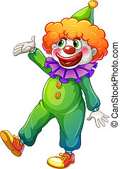 vervelend, groene, kostuum, clown