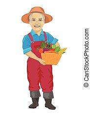 vervelend, groentes, bejaarden, dragende mand, fris, overalls, mannelijke , tuinman