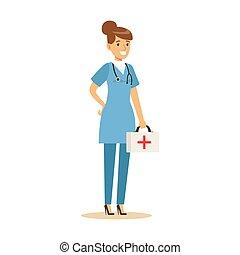 vervelend, werkende , hulpdienst, arts, reeks, medische eenvormig, vrouwlijk, deel, schrobt, gezondheidszorg, specialisten, ziekenhuis
