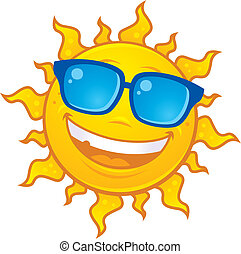 vervelend, zon, zonnebrillen