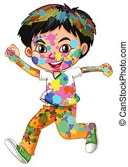 verven, vrolijke , lichaam, zijn, jongen, watercolor