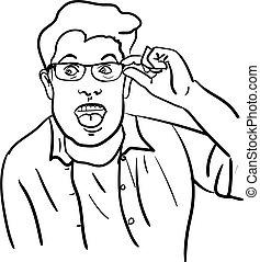 verwonderd, jonge man, bril