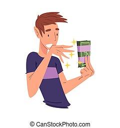 verwonderd, jonge man, zijn, handen, troep, vasthouden, bundel, vector, geld, illustratie