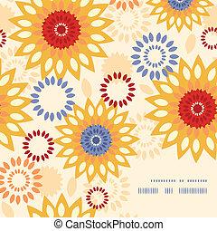 vibrant, abstract, warme, achtergrondmodel, floral, hoek, frame