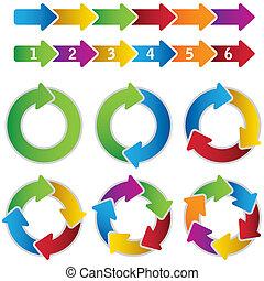 vibrant, cirkel, set, diagrammen