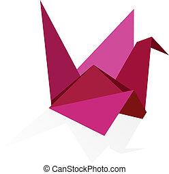 vibrant, kleuren, zwaan, origami
