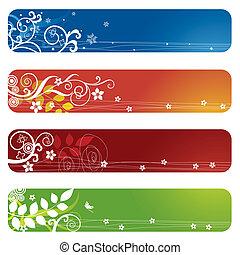 vier, floral, banieren, bookmarks, of