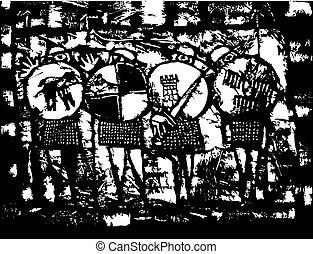 vier, ridders, saxon