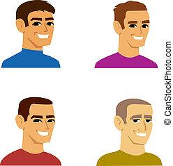 vier, verticaal, mannelijke , avatar, spotprent