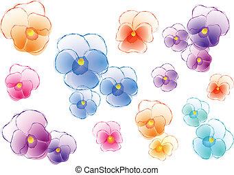 viooltjes, vector, set, kleurrijke