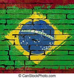 vlag, achtergrond, grunged, op, muur, braziliaans, illustratie, baksteen
