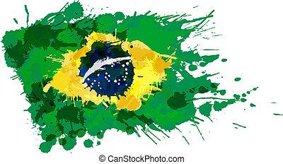 vlag, gemaakt, plonsen, kleurrijke, braziliaans