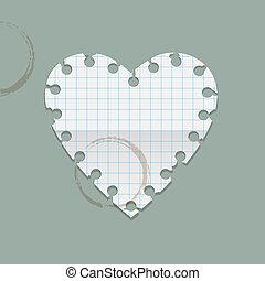 vlekken, hart, koffie, merk papier op