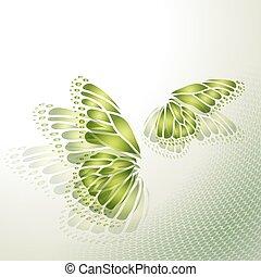 vlinder, achtergrond, groene samenvatting