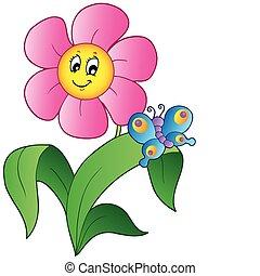 vlinder, bloem, spotprent