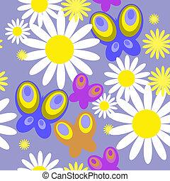 vlinder, bloemen, seamless, textuur