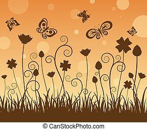 vlinder, bloemen, silhouette