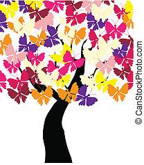 vlinder, boompje